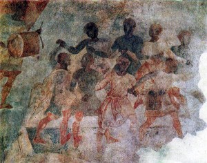 14th century: medieval Bulgarian horo dancers - a fresco from the Tower of Hrelyo in Rila monastery, 1334-35.