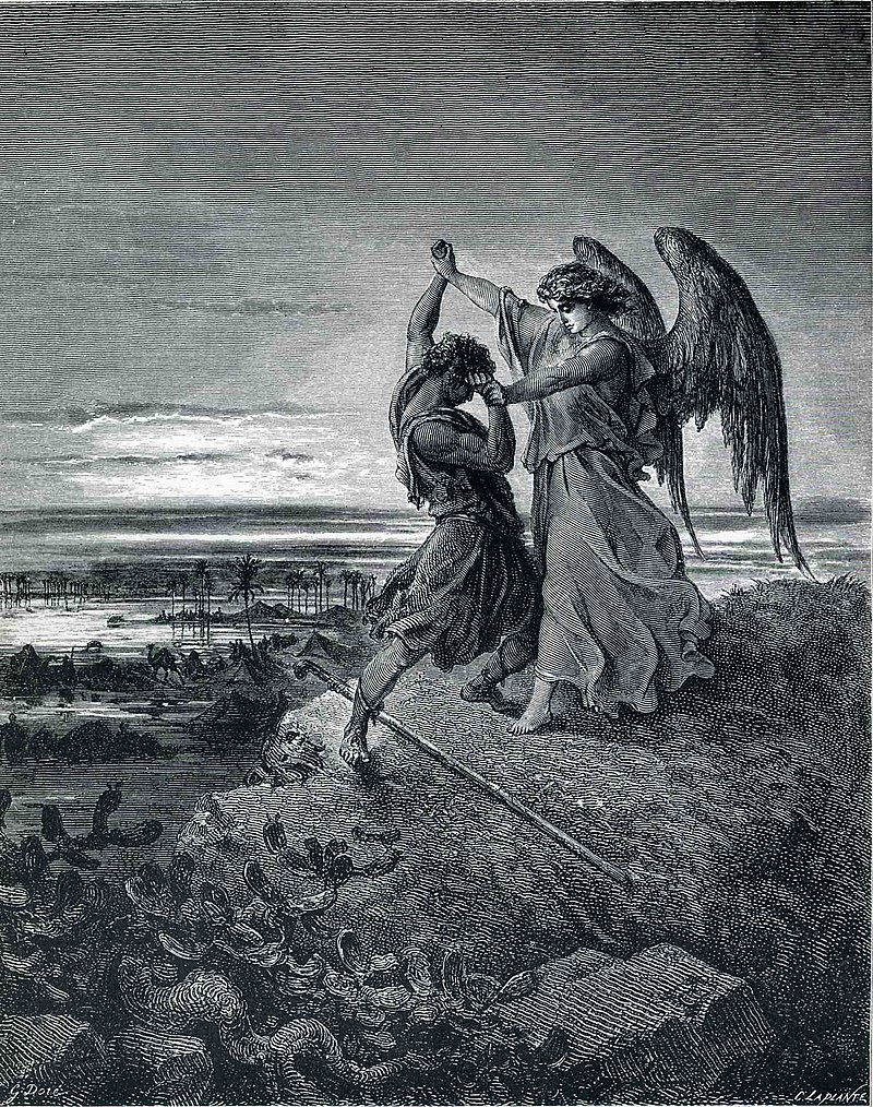 Борбата на Яков с Ангела, Гюстав Доре