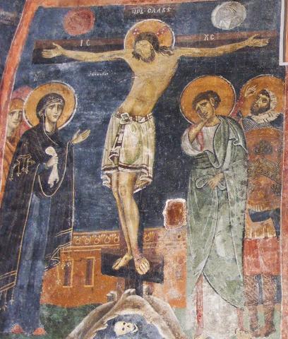 Стенопис в Боянска Църква с Разпятието и Св. Лонгинус